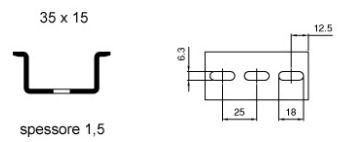 Barra DIN profilo alto preforata zincata OMEGA 3AF 35x15 spessore 1,5