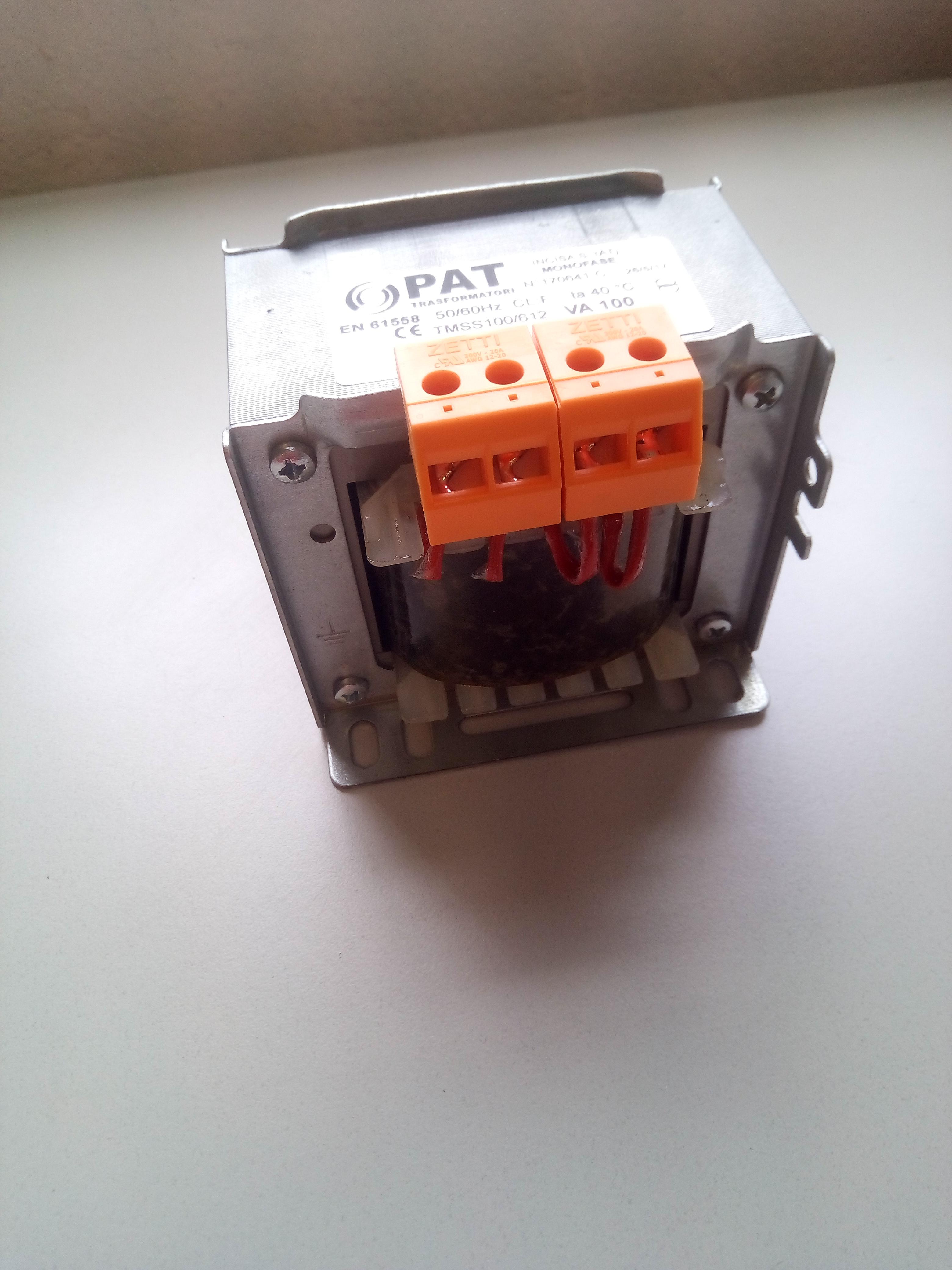 Trasformatore 230-230 V senza schermo elettrostatico 100VA