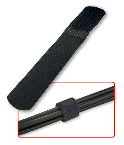 Fascette ferma cavi in velcro nere, 10pz.