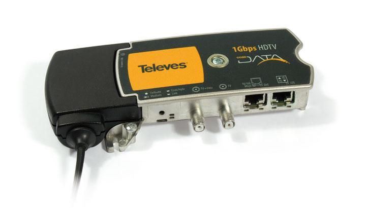 Coaxdata - Adattatore ibrido 1Gbps-HDTV coassiale + PLC (2 connettori ETH) Sistema a onde convogliate 500MBit/s su PLC e 700MBit/s su coax