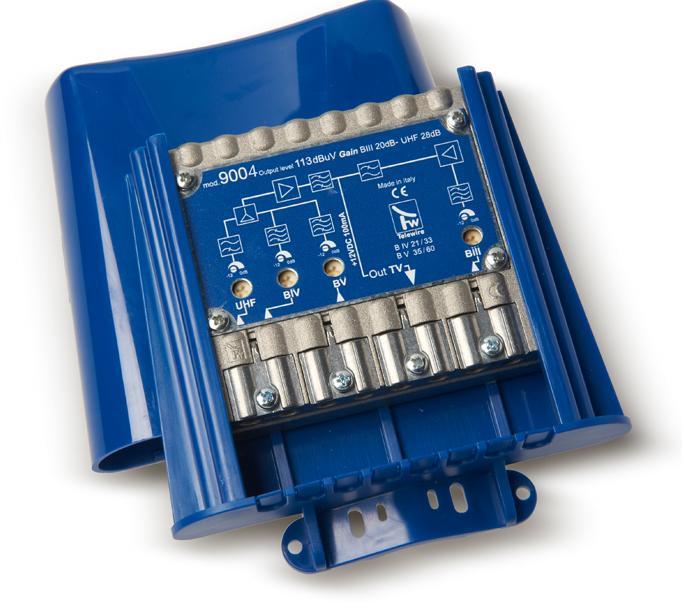 Amplificatore IN 3+4+5+UHF G.28dB OUT 113dBuV mod 9004 Taglio IV-V CH 21:41-43:60