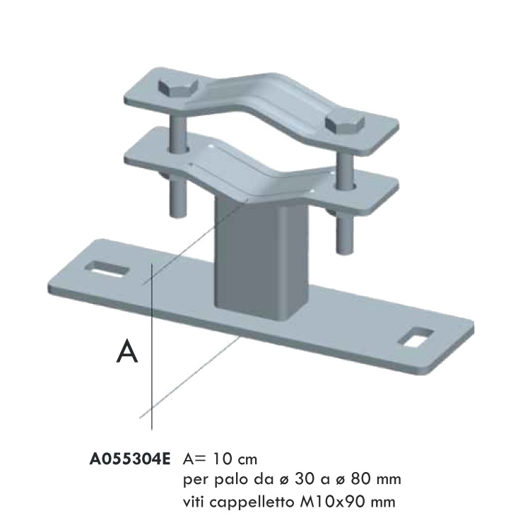 Zanca tipo Emilia da 10cm Zincatura Elettrolitica per palo D. 35/80 mm