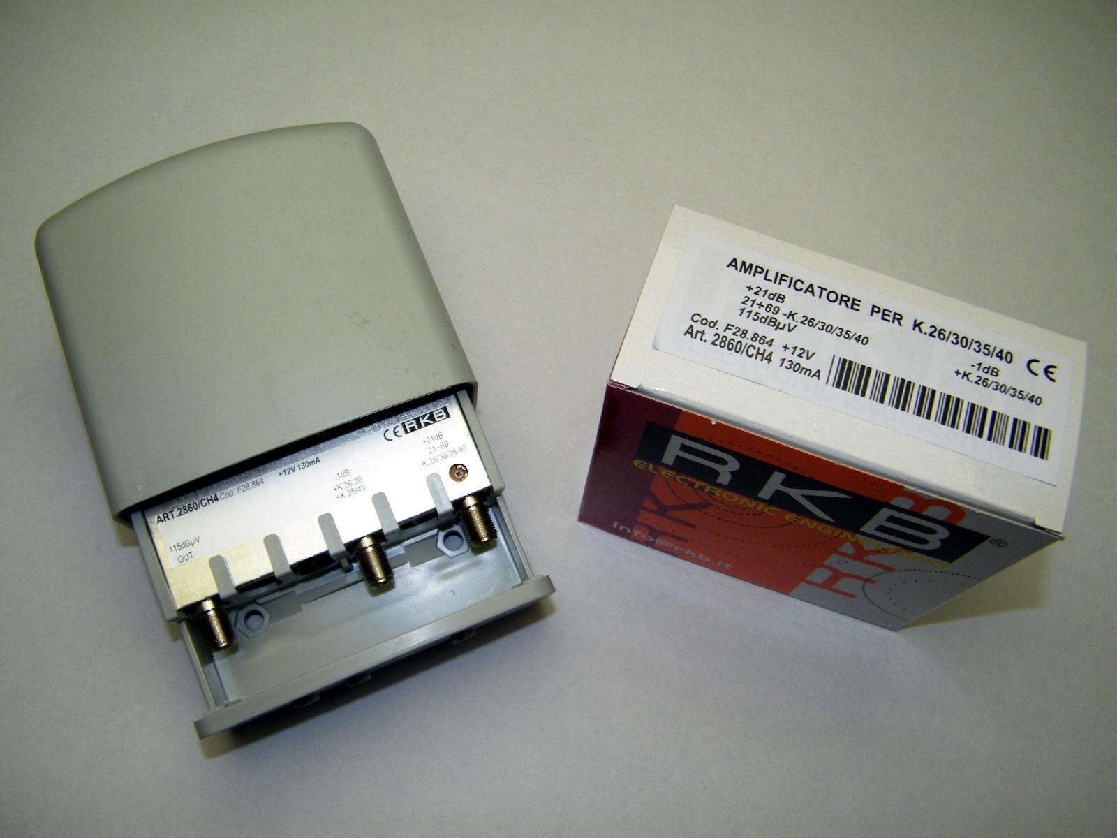 Amplificatore x 4 Mux Rai 26,30,35,40 21dB UHF-K/K -1dB 115dBuV 130mA 2860CH4
