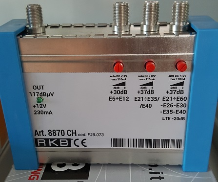 Centralino IN VHF 30dB, 21:35 + CH40 37dB, 21:60 - CH 26,30,35,40 37dB Out 117dBuV mod. 8870 CH