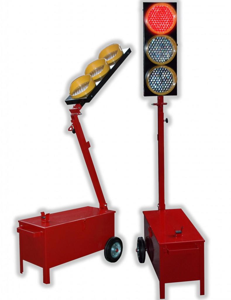 Coppia di Semafori Con Batterie per Cantiere Stradale