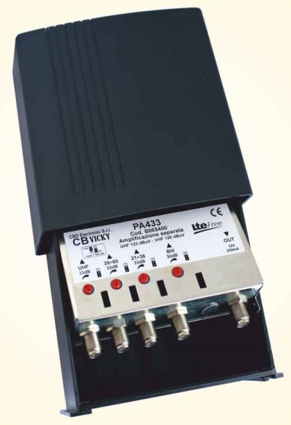 Amplificatore PA433 III,(21:40),(42:60),UHF 30dB Reg. LTE FREE