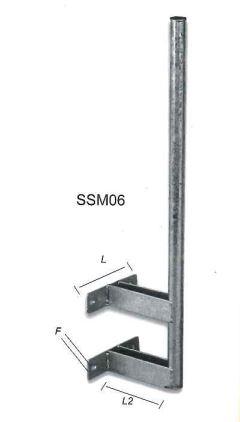 PALO 150cm 50mm 2,5mm zincato a caldo con staffe rinforzate 20cm per ancoraggio a muro