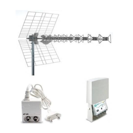 KIT 4 EVO BLU10HD1 Antenna BLU10HD LTE1 Amplificatore da palo MAP2r345U LTE1 Alimentatore MINIPOWER 12P