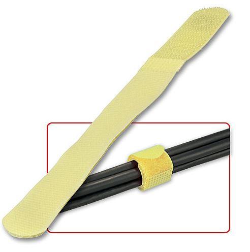 Fascette ferma cavi in velcro gialle, 10pz.