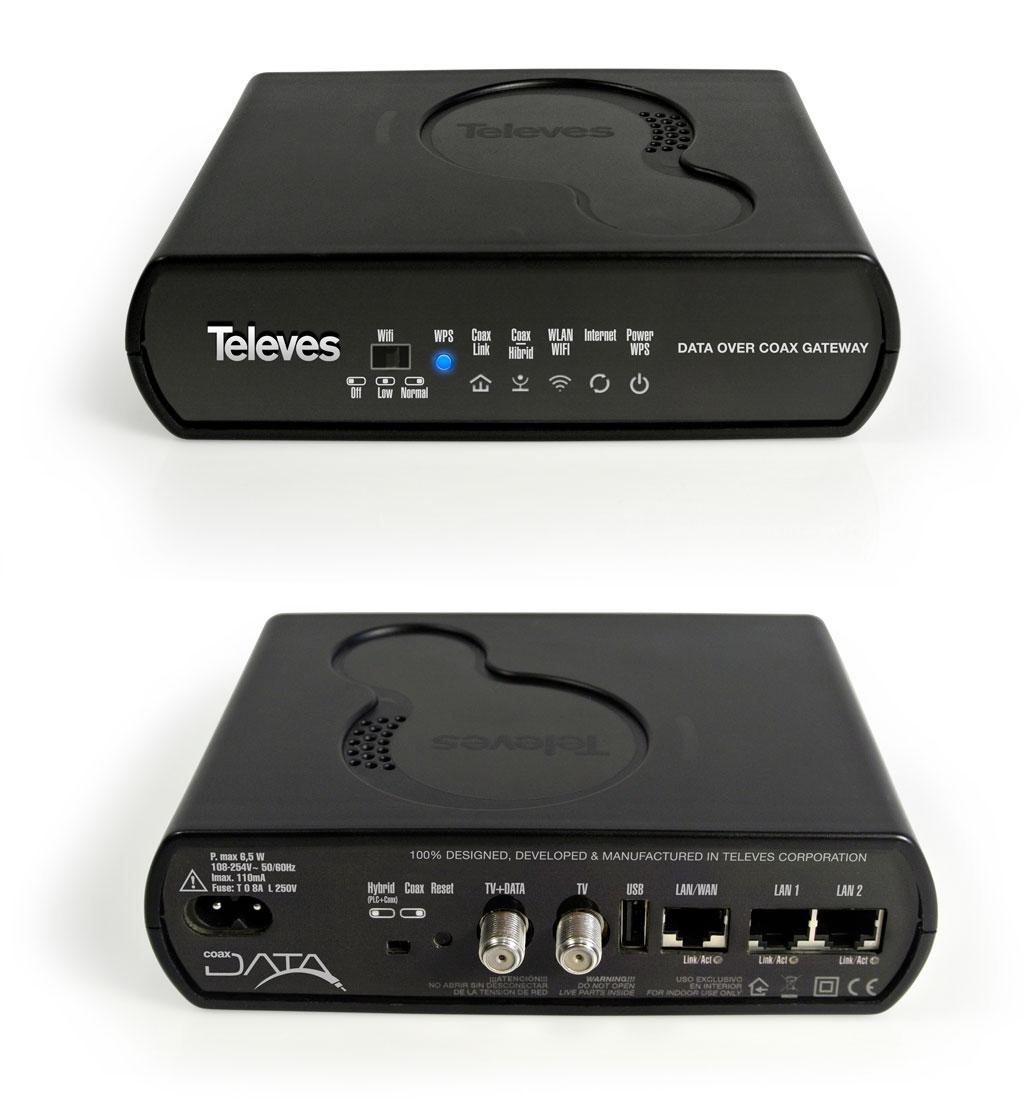 Coaxdata Gateway (+WIFI) 1 Gbps Sistema a onde convogliate 500MBit/s su PLC e 700MBit/s su coax