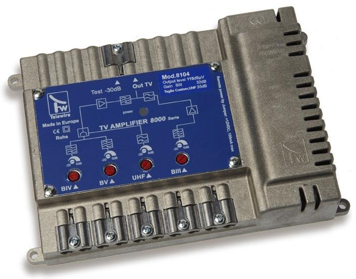Centralino IN 3+4+5+UHF G.35dB OUT 115dBuV mod 8104 Taglio IV-V CH 21:40-42:60
