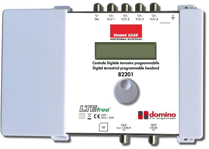 Centrale TV DTT programmabile 50 cluster IN FM + 4 IN VHF/UHF AGC e convertitore di frequenza. Slot SD