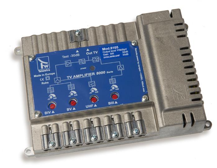 Centralino IN 3+4+5+UHF G.45dB OUT 124dBuV mod 8300 Taglio IV-V CH 21:41-43:60
