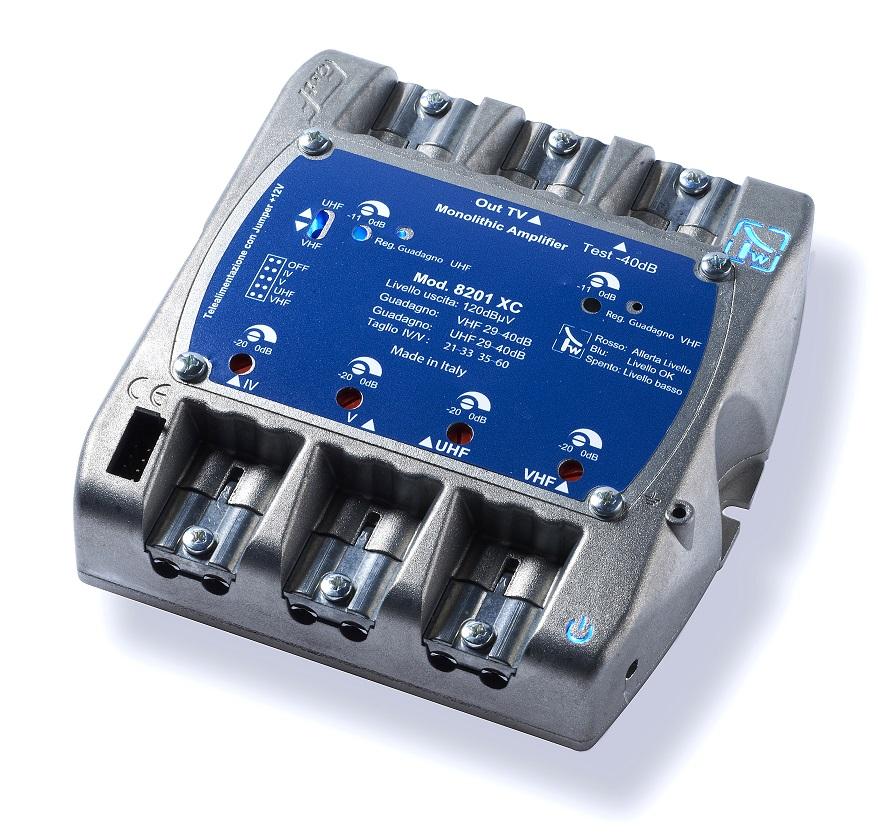 Centralino 3 ingressi VHF-UHF1-UHF2 124 dBuV circuito VLS amplificazione 45dB VHF 45dB UHF regolabile +/- 11dB-telealim. 200 mA