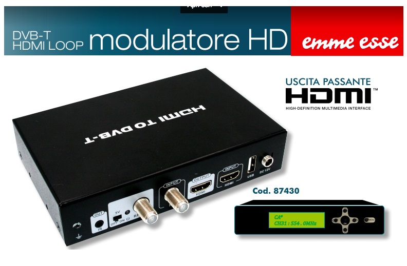 Modulatore HDMI DVB-T + OUT HDMI + IR ONDE CONVOGLIATE