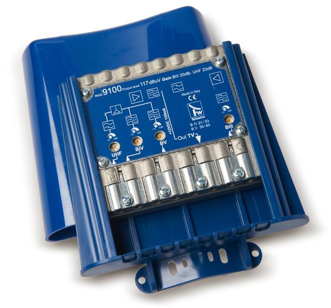 Amplificatore IN 3+4+5+UHF G.23dB OUT 117dBuV mod 9100 Taglio IV-V CH 21:41-43:60