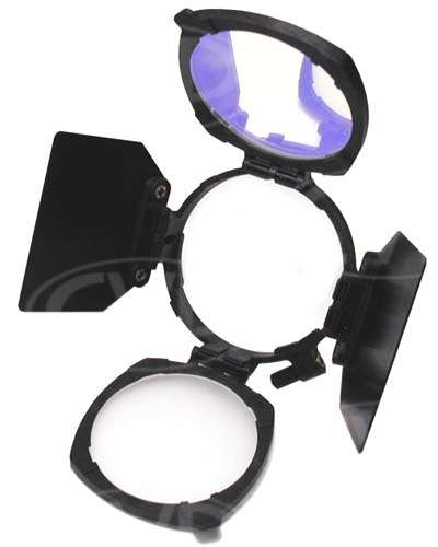 Rotable Accessory Kit comprising Holder, Barndoors, Dichroic and Diffuser responsive