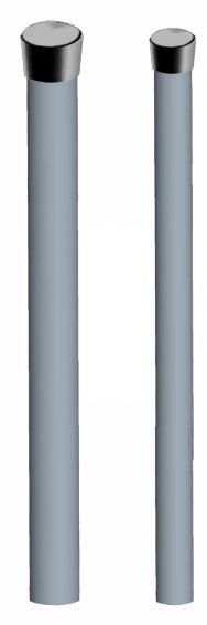 Palo singolo senza bulloni con tappo 2mt, 40mm, sp 1,5mm tappo nero