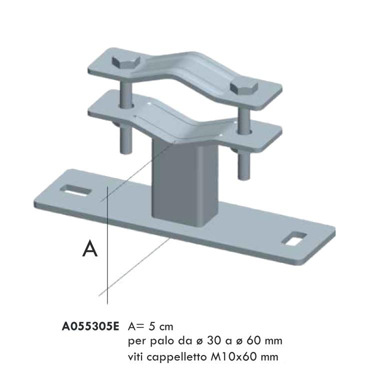 Zanca tipo Emilia da 5cm Zincatura Elettrolitica per palo D. 35/60 mm
