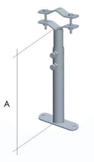 Zanca a muro tubolare regolabile 25:42cm x palo 30:60
