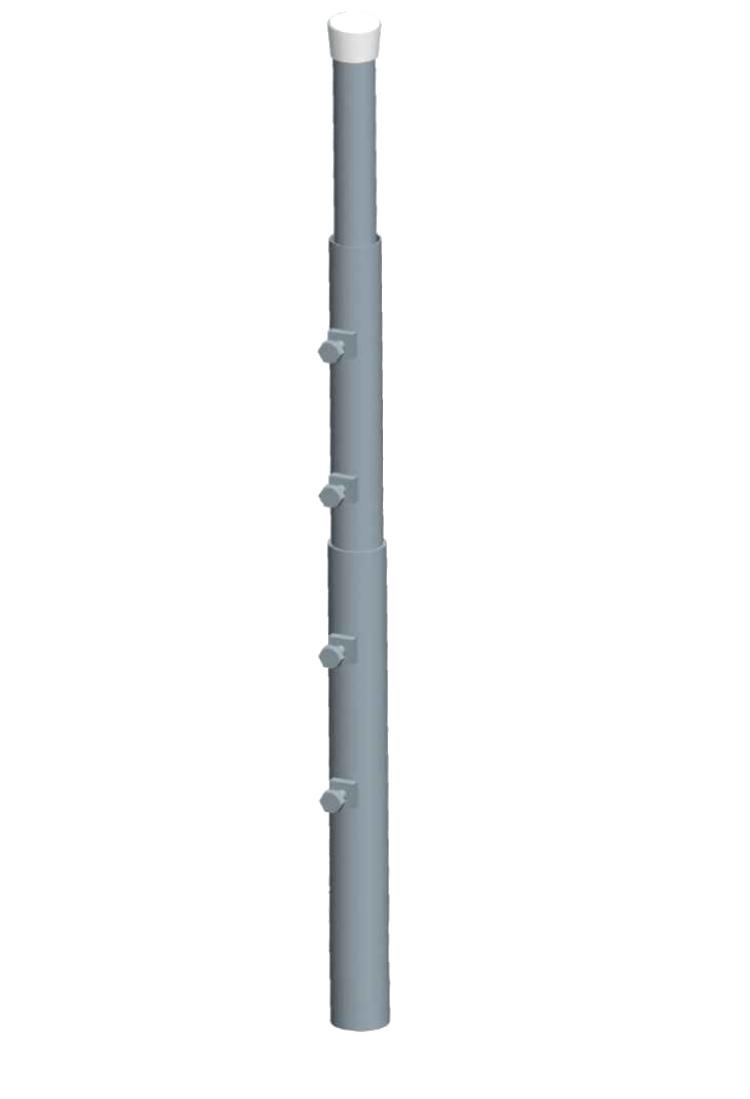 Palo zincato fuoco m3x3 - diametro 40-60 sp 3mm tappo nero dadi 5xM