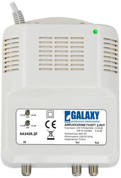 Amplificatore da interno UHF/VHF 28dB autoalimentato con splitter 2 out incluso e regolazione bande separate 108dBuV