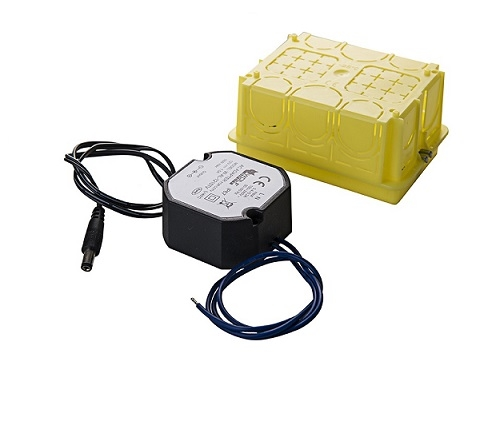 Alimentatore 12Vdc 1200 mA compatto per scatole di derivazione con spinotto per telecamere TVCC