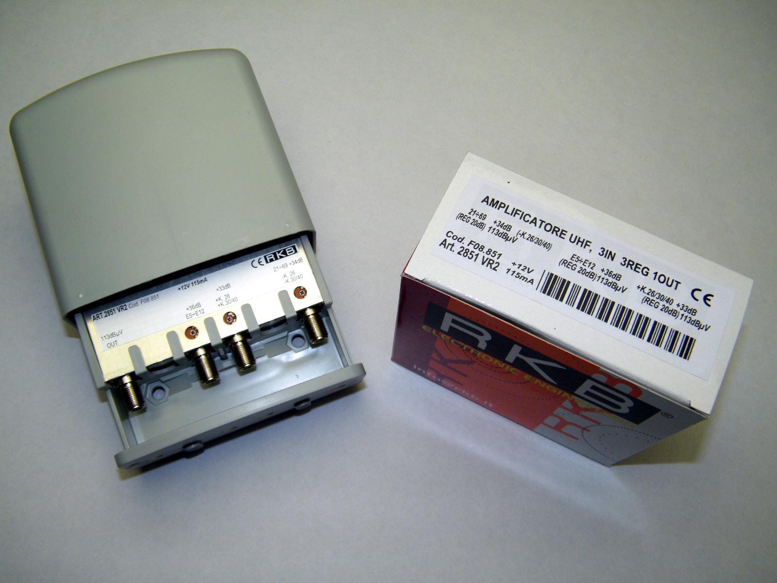 Amplificatore x 3 Mux Rai 26,30,40 34dB VHF/UHF-K/K 113dBuV 115mA 2851VR2