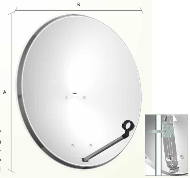 Parabola 80cm OffSet con supporto in acciaio zincato (monopode tubolare in alluminio a sezione ellittica)