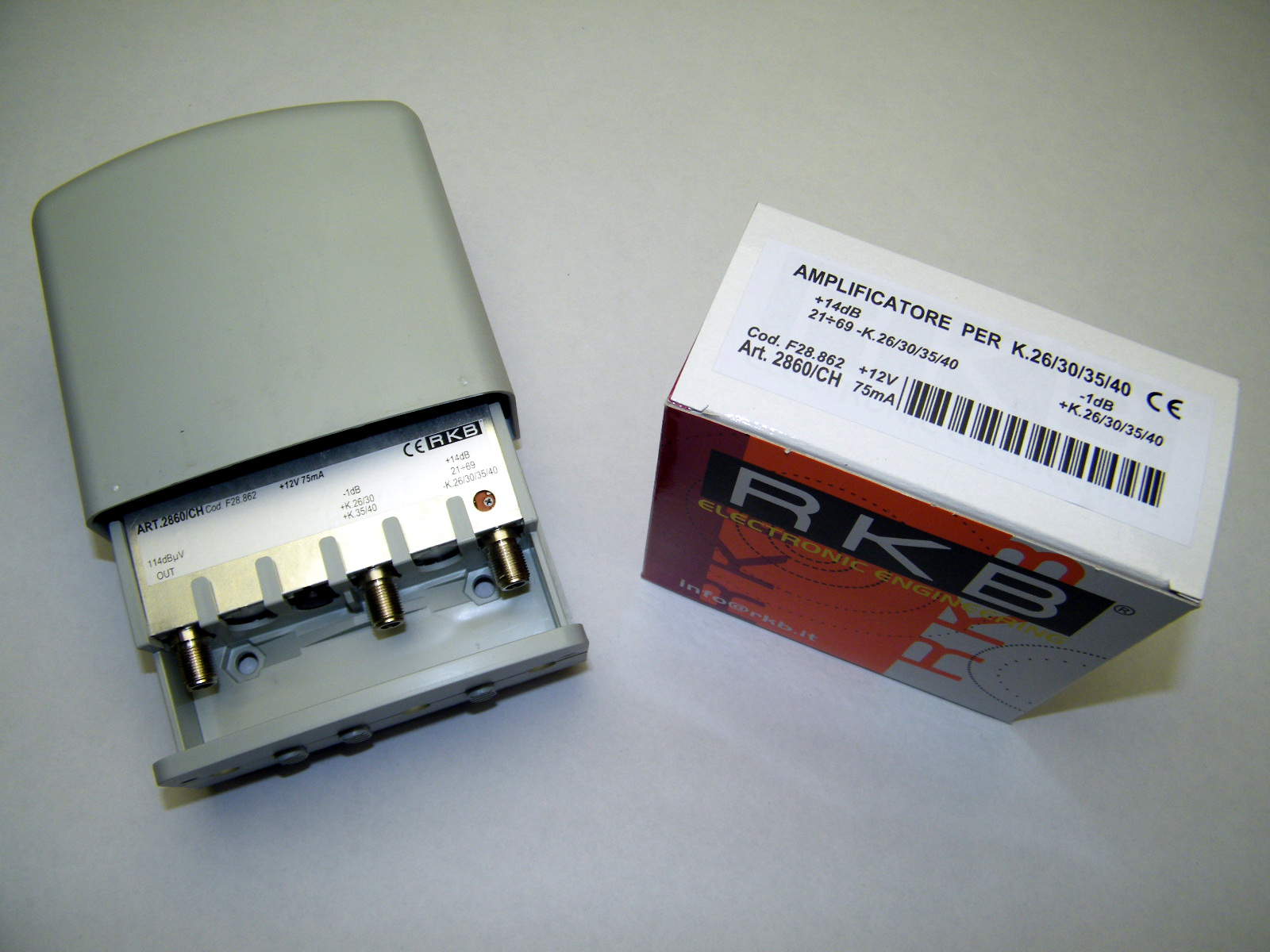 Amplificatore x 4 Mux Rai 26,30,35,40 14dB UHF-K/K -1dB 114dBuV 75mA 2860CH
