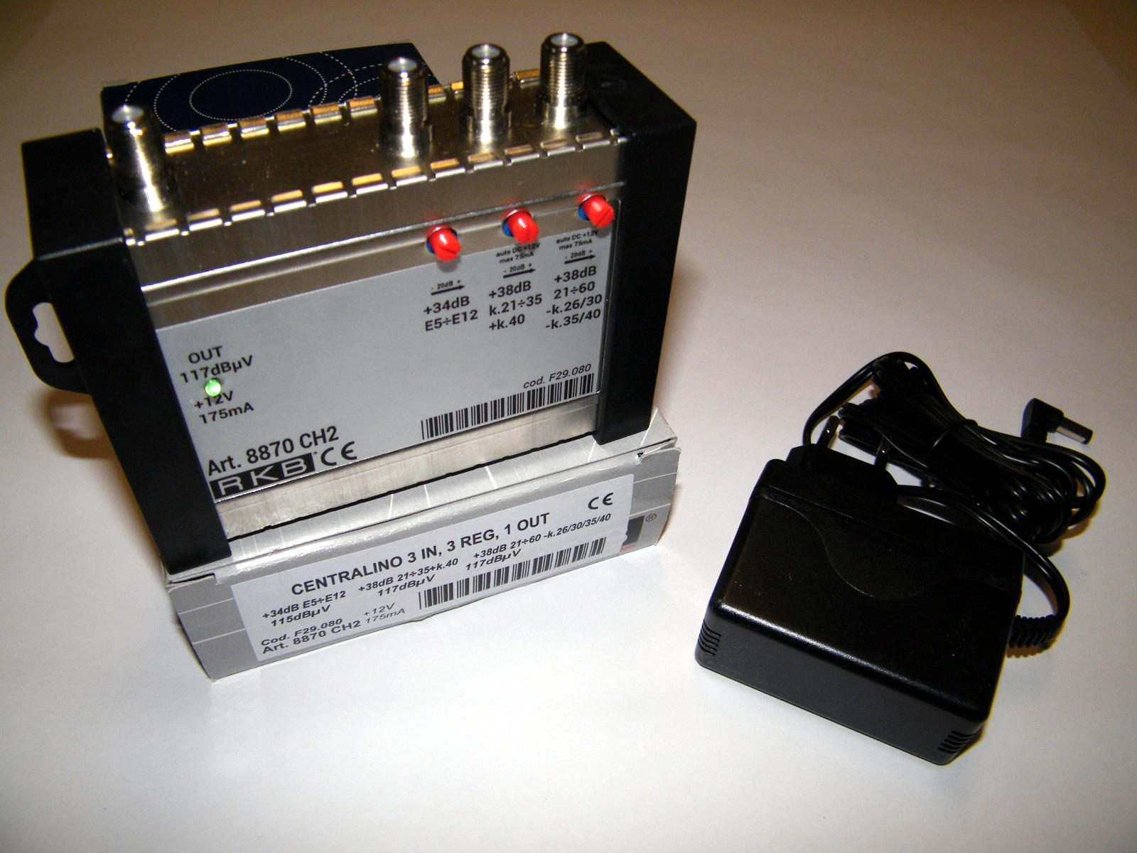 Centralino x 4 Mux Rai 26,30,35,40 38dB VHF/IV+40/UHF-K 117dBuV 175mA 8870CH2