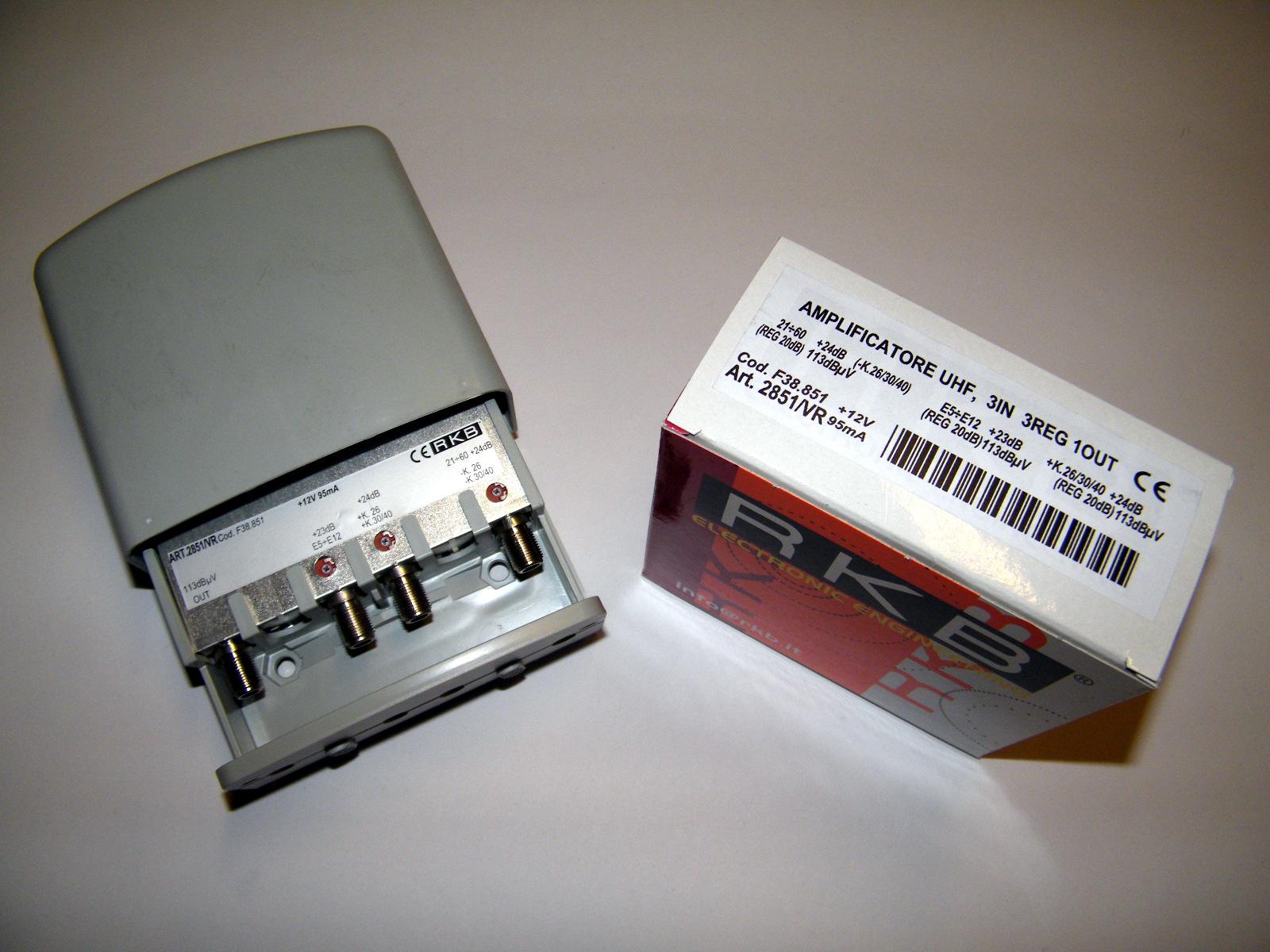 Amplificatore x 3 Mux Rai 26,30,40 24dB VHF/UHF-K/K 113dBuV 95mA 2851VR