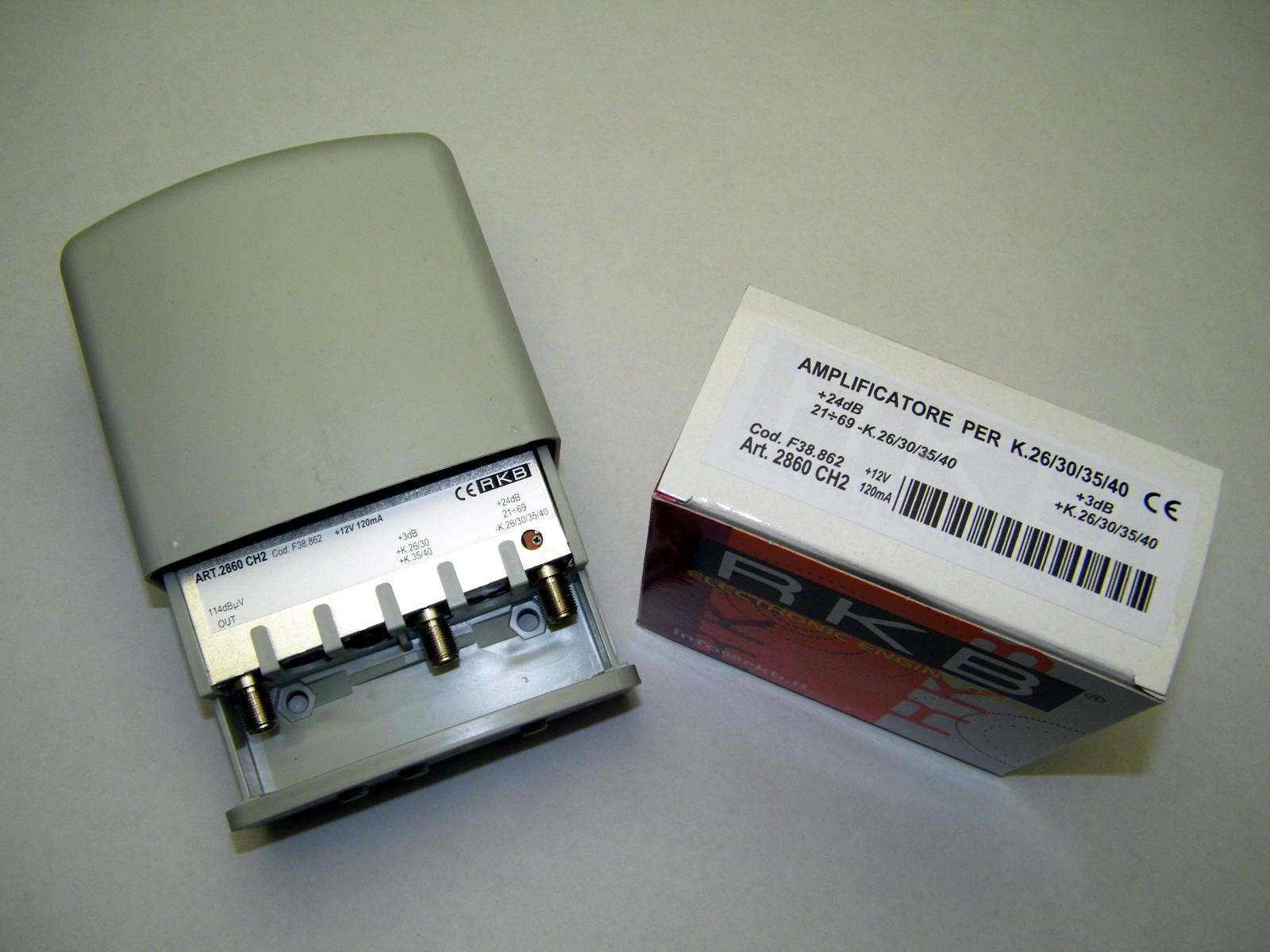 Amplificatore x 4 Mux Rai 26,30,35,40 24dB UHF-K/K 3dB 115dBuV 120mA 2860CH2