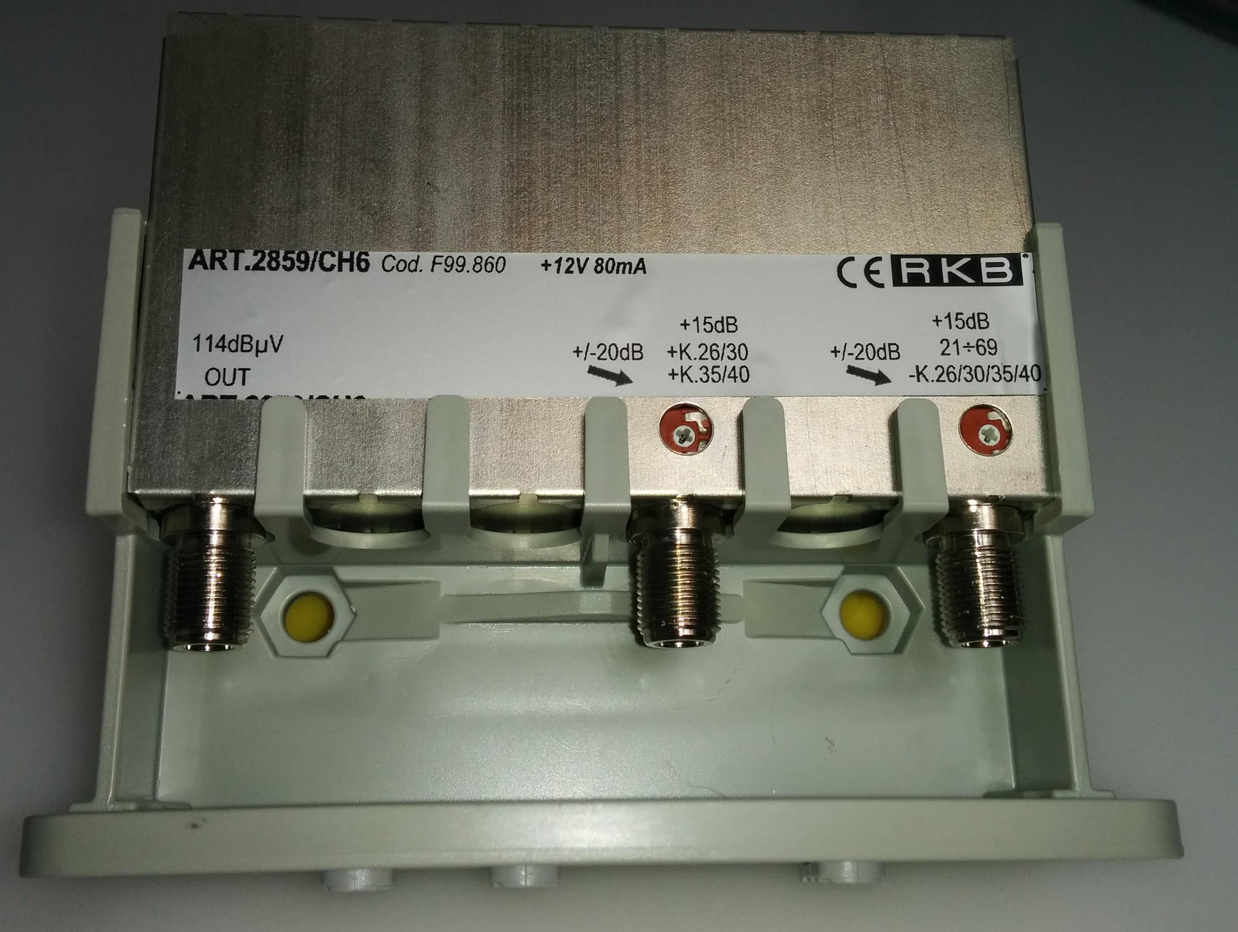 Amplificatore x 4 Mux Rai 26,30,35,40 15dB UHF-K/K 114dBuV 80mA 2859CH6