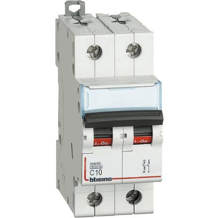 Interruttore magnetotermico 1P+N curva C - In= 10A - Icn= 6kA - Vn= 230 Vac - 2 moduli