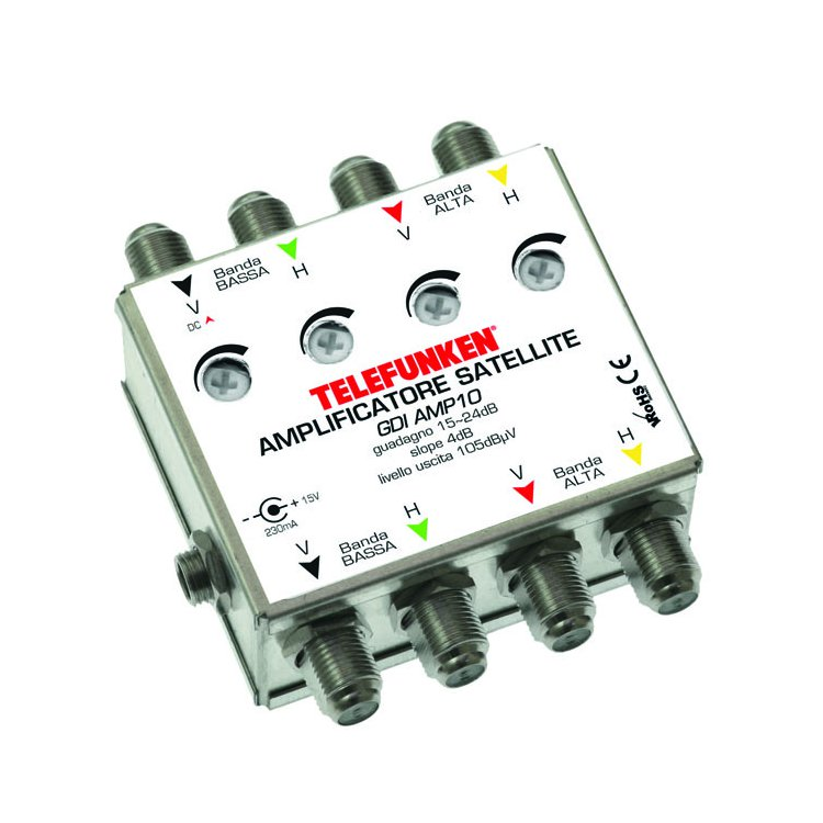 Amplificatore HV/HV di linea regolabile 14dB + PS 800mAh