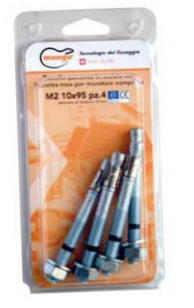 Tassello 10x95 passante in acciaio con fascetta inox per murature compatte confez. 4pz