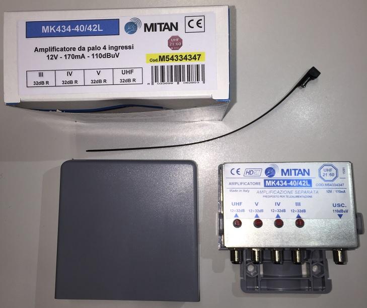 Amplificatore 34dB Reg. III , (21:40) ,(42:60) , UHF LTE FREE