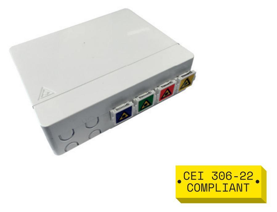Contenitore STOA completo di 4 adattatori SC-APC shutter (4 colori).
