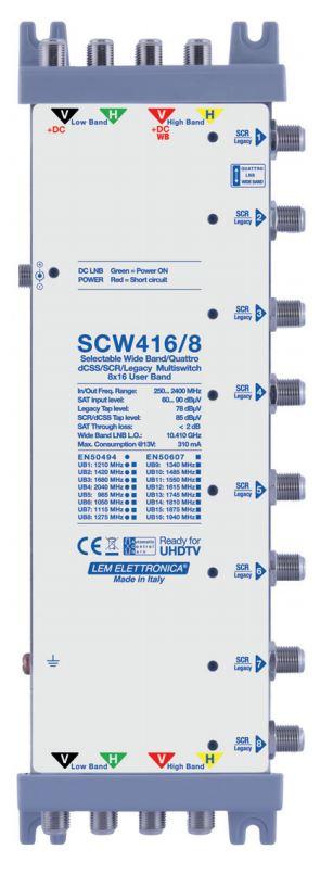 Multiswitch dCSS HVHV/WideBand, 8 derivate con 16 User Band ciascuna compatibili con funzioni SKY SCR e dCSS